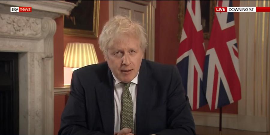 △2021É1月4日 英Â首相鲍里斯·约翰逊Ï表电视讲话