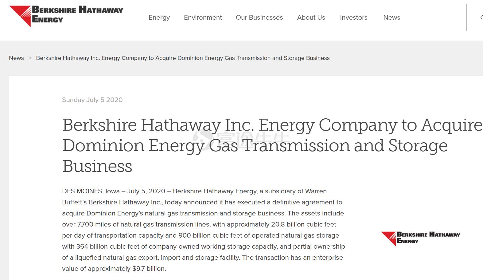 巴菲特终于出手!伯克希尔100亿美元收购道明尼能源天然气资产